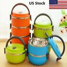 1-4 Layer Stainless Steel Insulation Thermo Thermal Lunch Box Food Container US