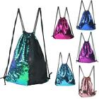 Portable Glittering Drawstring Mermaid Sequin Reversible Shoulder Bag Backpack L