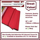 LUXURY COLOURED TISSUE PAPER ACID FREE  750mm x 500mm - 14 COLOURS 3 -100 SHEETS