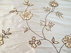 Fabric Robert Allen Beacon Hill Sir Percy Ivory 100% Silk Embroidered Floral HH2