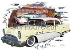 1954 Yellow Buick Sedan Custom Hot Rod Diner T-Shirt 54 Muscle Car Tee's