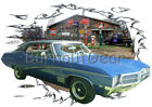 1968 Blue Buick Skylark Custom Hot Rod Garage T-Shirt 68 Muscle Car Tee's