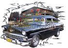 1956 Black Chevy 210 Sedan a Custom Hot Rod Garage T-Shirt 56 Muscle Car Tee's
