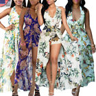 New Lady Sexy Boho Maxi Dress Deep V-Neck Floral Beach Side Slits Long Sundress