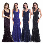 UK Womens Mermaid Long Maxi Bridesmaid Party Cocktail Dresses Evening Gown 08855