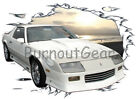 1992 White Flames Chevy Camaro b Custom HotRod Sun Set T-Shirt 92 Muscle Car Tee