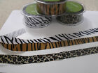 May Arts ZEBRA TIGER LEOPARD - Grosgrain Animal Print Ribbon - 22mm & 28mm
