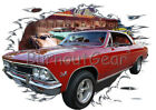1966 Red Chevy Chevelle SS e Custom Hot Rod Diner T-Shirt 66 Muscle Car Tees