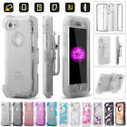 Rugged Heavy Duty Transparent Cover Case For iPhone, Clip Fits Otterbox Defender