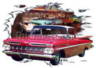 1959 Red Chevy El Camino a Custom Hot Rod Diner T-Shirt 59 Muscle Car Tees
