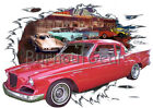 1957 Red Studebaker Custom Hot Rod Diner T-Shirt 57 Muscle Car Tees