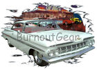 1959 White Chevy Impala Custom Hot Rod Diner T-Shirt 59 Muscle Car Tees