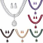 Wedding Bridal Double Layer Crystal Pearl Dangle Earrings Necklace Set Jewelry
