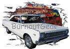 1966 White Plymouth Satellite Custom Hot Rod Diner T-Shirt 66 Muscle Car Tees