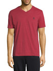 Psycho Bunny Men's Pinot Red/Burgundy Cotton Blend V-Neck Short Sleeve T-Shirt