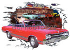 1965 Red Oldsmobile 442 Convertible Custom Hot Rod Diner T-Shirt 65 Muscle Car T
