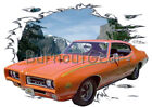 1969 Orange Pontiac GTO JUDGE Custom Hot Rod Mountain T-Shirt 69 Muscle Car