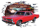 1965 Red Pontiac Lemans Custom Hot Rod Diner T-Shirt 65 Muscle Car Tees