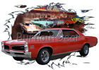 1966 Red Pontiac Tempest Custom Hot Rod Diner T-Shirt 66 Muscle Car Tees