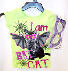 Girls Green Halloween Bat Cat Tshirt Mask XS S M NWT