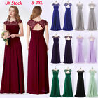 UK Womens Long Lace Cap Sleeve Prom Bridesmaid Dress Party Evening Gown 09993