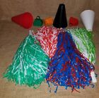 New Fan Cheerleader Pom Poms Choose Color Red & White Red & Blue Green & White