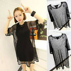 Women through Sheer Mesh Short Sleeve Tee T Shirt Oversize Tops Blouse US