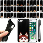 "For Apple iPhone 8, iPhone 7 4.7"" Dog Design TPU Black SILICONE Case Cover + Pen"