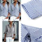 Newly 3 colors Women Striped Long Sleeve Shirt Turn-Down Femme Collar Loose