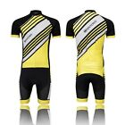 Twill Yellow Cycling Bike Short Sleeve Clothing Set Jersey (Bib) Shorts S-4XL
