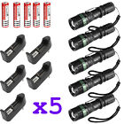 5x Ultrafire Tactical 15000LM T6 LED Zoomable Flashlight  18650 Charger Holder