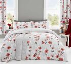 'Fliss' Floral Duvet Covers Modern Poppy Print Cotton Blend Bedding Set Red