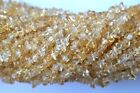 "NATURAL CITRINE 4MM TO 5MM APPROX. CHIPS/UNCUT 34"" LONG GEMSTONES BEADS"