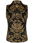 Devil Fashion Mens Vest Waistcoat Black Gold Damask Gothic Steampunk Aristocrat