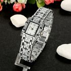 Womens Bling Stainless Steel Silver Quartz Crystal Wrist Watch ED