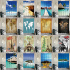 Polyester Waterproof Shower Curtain Mildew Resistant Bathroom Curtain with Hooks