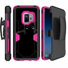 For Samsung Galaxy S9 G960 (2018) Holster Belt Clip Pink Case with Kickstand