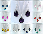 SMALL TEAR DROP SILVER TONE FACETED ACRYLIC CRYSTAL NECKLACE & EARRING SET