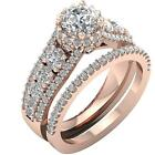 Journey Round Diamond I1 H 3.05Ct Bridal Matching Halo Engagement Ring Rose Gold