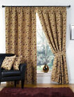 Victoria Tapestry Floral Ready Made Fully Lined Tape Curtains Beige