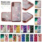 For iPhone X 10 Bling Hybrid Liquid Glitter Rubber TPU Protective Case Cover