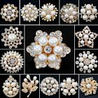 Wedding Bridal Bouquet Gold Pearl Crystal Flower Brooch Pin Lady Costume Jewelry