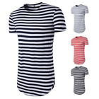 Summer Mens' Longline Curved  T-shirts Tops Street Striped Long Body Tall Tee