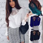 New Womens Hollow Lace Blouse Casual Spring Chiffon Lady Shirt Long Sleeve Tops