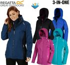 REGATTA WOMENS LADIES 3 IN 1 PREMILLA WATERPROOF COAT / JACKET