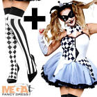 Harlequin Jester + Stockings Ladies Fancy Dress Halloween Womens Adults Costume