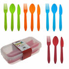 12pc Reuseable Plastic Cutlery Set Fork Spoon Knife Camping Picnic Kids Travel