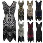 1920s Style Beaded Sequined Deco Fringe Flapper Gatsby Dress B20E