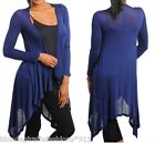 Blue Long Sleeve Scarf/Wrap Drape Front Tunic Cardigan/Cover-Up S M L