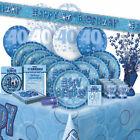 AGE 40 - Happy 40th Birthday BLUE GLITZ - Party Range, Banners & Decorations{1C}